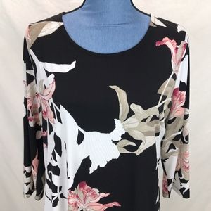Chicos Black Tan Pink Orchid Flower Tunic